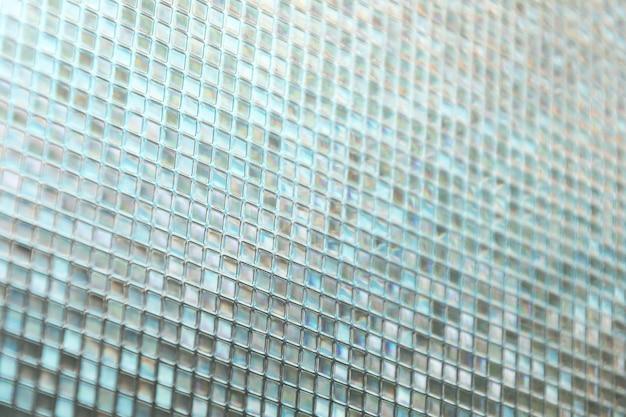 Texture de carreaux de verre bleu transparent, arrière-plan, fenêtre, cuisine ou concept de salle de bain