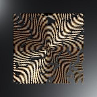 Texture circulaire en métal doré sur fond sombre, rendu 3d