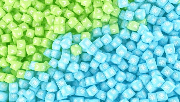La texture de cubes dispersés de différentes couleurs. illustration 3d