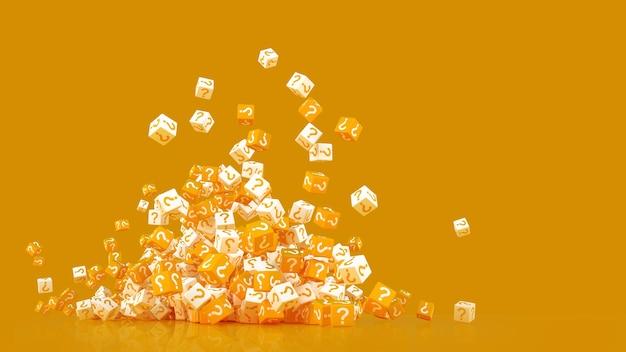 La texture des cubes dispersés avec un point d'interrogation