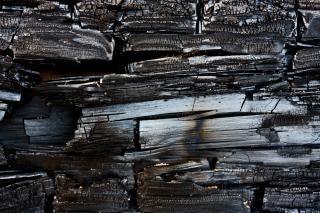 La texture du bois brûlé carbonisé