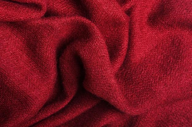 La texture du lin bourgogne tricoté chaud