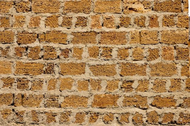 La texture du mur de briques en pierre de coquillage jaune de crimée.