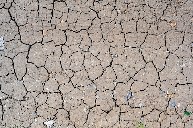 Texture du sol fissurée de boue sèche. fond de saison de sécheresse. terre sèche et craquelée, sèche par manque de pluie. effets du changement climatique.