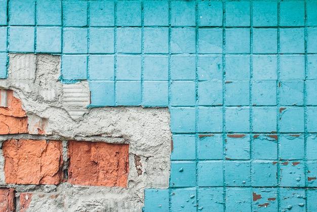 Texture du vieux mur de carreaux bleu