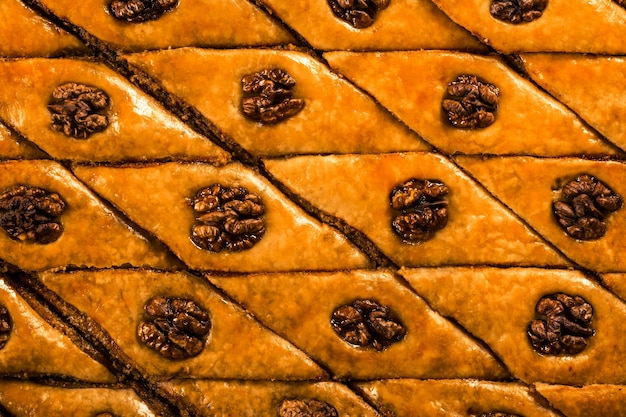 Texture de fond de baklava de cuisson orientale
