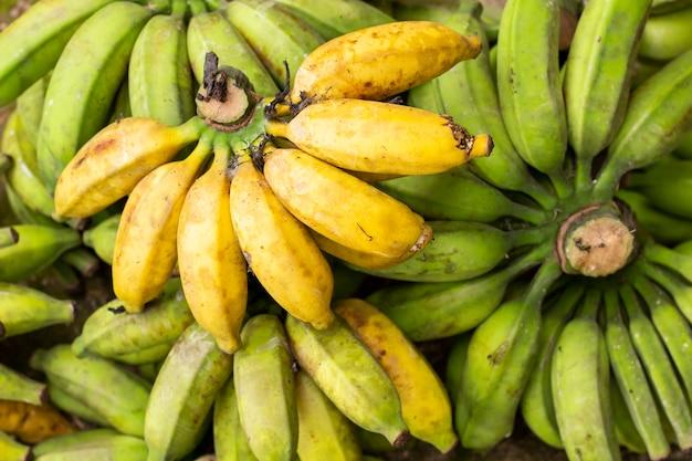 Texture de fond de bananes vertes et jaunes.