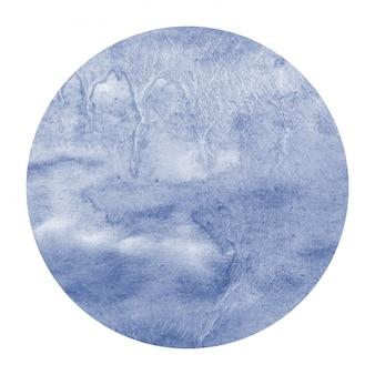 Texture de fond de cadre circulaire aquarelle dessiné main bleu foncé avec des taches
