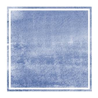 Texture de fond de cadre rectangulaire aquarelle dessiné main bleu foncé avec des taches