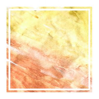 Texture de fond de cadre rectangulaire aquarelle dessiné à la main jaune chaud avec des taches