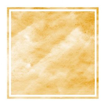 Texture de fond de cadre rectangulaire aquarelle dessiné à la main orange clair avec des taches