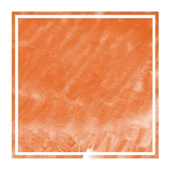 Texture de fond de cadre rectangulaire aquarelle dessiné à la main orange avec des taches