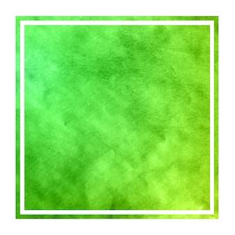 Texture de fond de cadre rectangulaire aquarelle dessiné à la main verte avec des taches