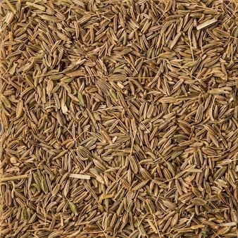 Texture de fond de graines de cumin séchées, vue de dessus