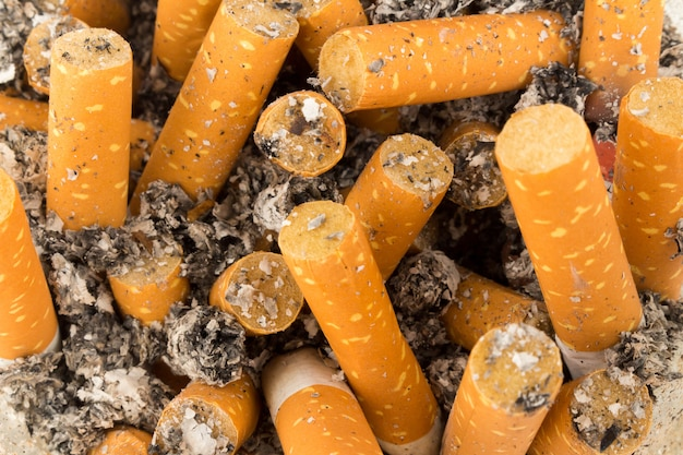 Texture de fond de mégots de cigarettes