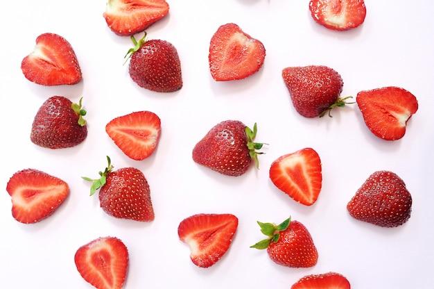 Texture de fond rouge tranche de fraise