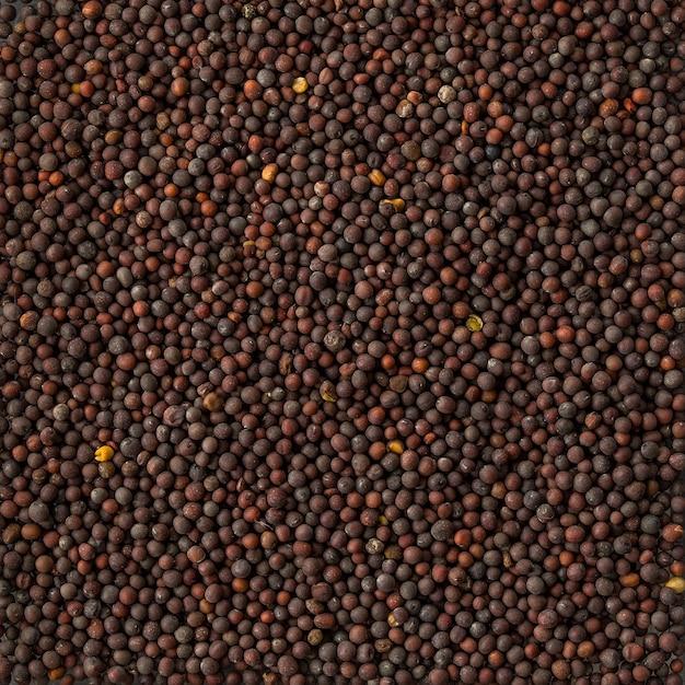 Texture de fond d'un tas de graines de moutarde noire,
