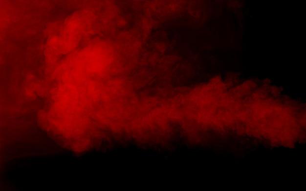 Texture de fumée rouge sur fond noir