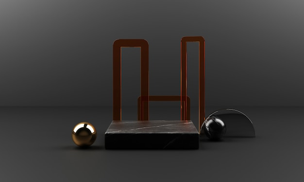 Texture géométrique en marbre noir et or avec acier inoxydable avec groupe d'objets en verre de couleur ensemble rendu 3d scène abstraite podium vierge
