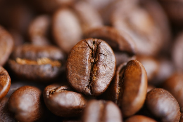 Texture de grains de café torréfiés