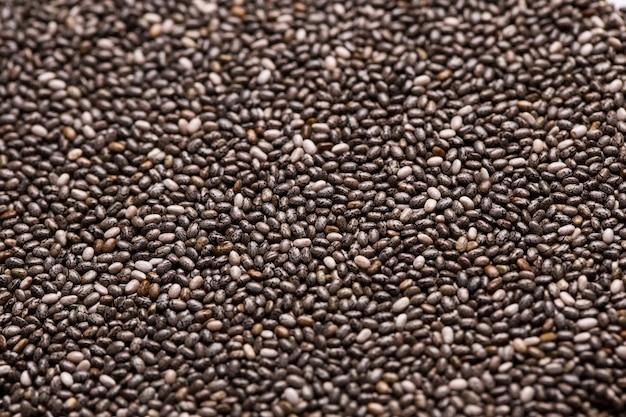 Texture de gros plan de graines de chia.