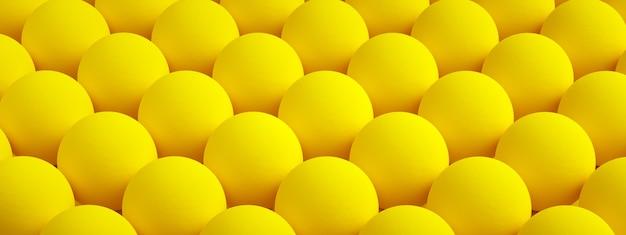 Texture jaune avec des bosses rondes répétées, fond sphérique, rendu 3d, image panoramique