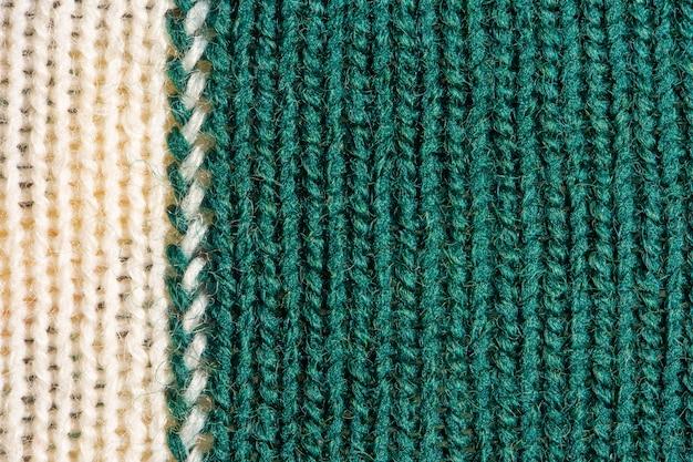 Texture de laine à tricoter verte et blanche