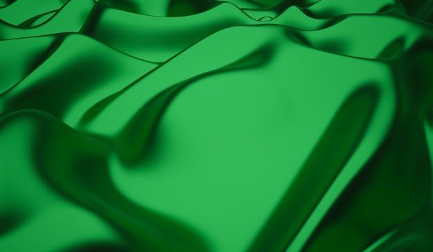 La texture lisse et élégante de la soie verte ou du satin peut être utilisée comme arrière-plan