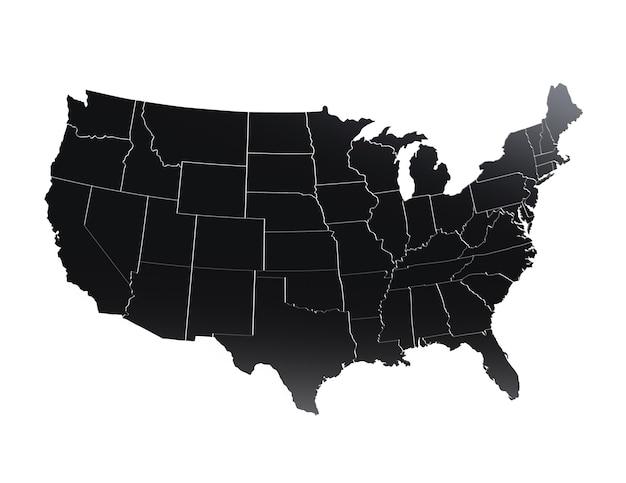 Texture métallique de carte des états-unis d'amérique en couleur noire rendu 3d réaliste du territoire des états-unis