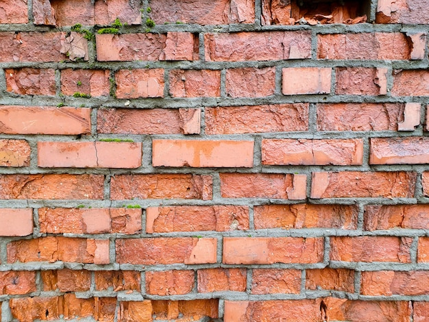 Texture de mur de brique ancienne. mur de briques de briques historiques.