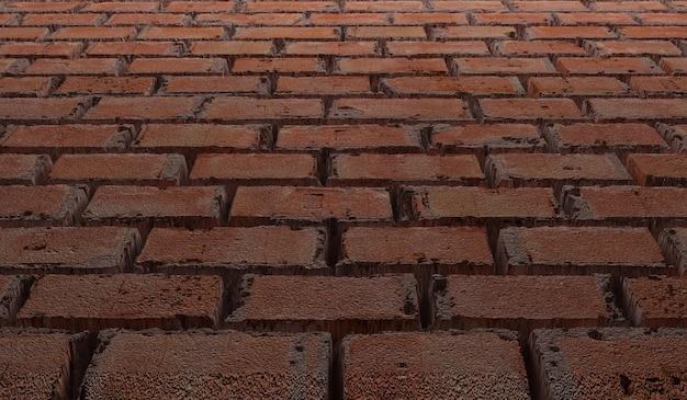 Texture de mur de brique rouge vue vers le bas