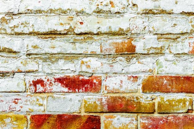 Texture d'un mur de briques avec des fissures et des rayures qui peuvent être utilisées comme arrière-plan
