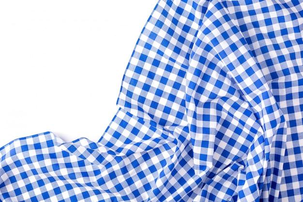 Texture de nappe bleue sur blanc