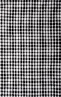 Texture de nappe vichy. noir et blanc. copiez l'espace.