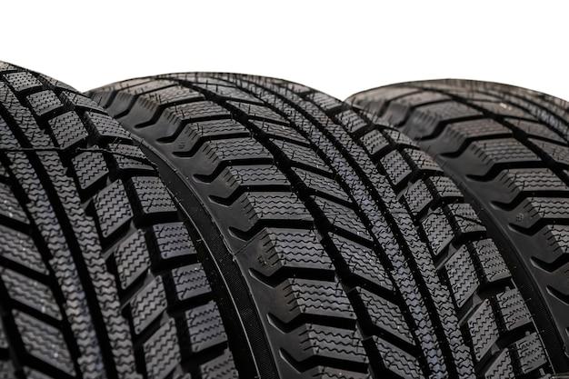La texture d'un nouveau pneu de voiture se bouchent.