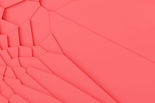 Texture numérique légère de blocs de différentes tailles de formes différentes dominant les uns au-dessus des autres, projetant des ombres illustration 3d couleur corail vivant