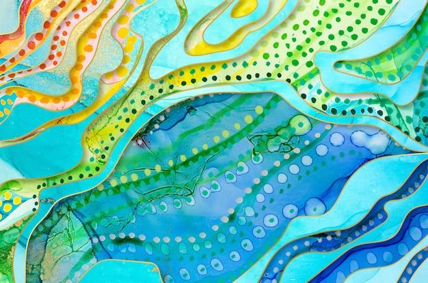 Texture d'œuvres d'art arc-en-ciel avec des taches d'aquarelle et des éléments en marbre