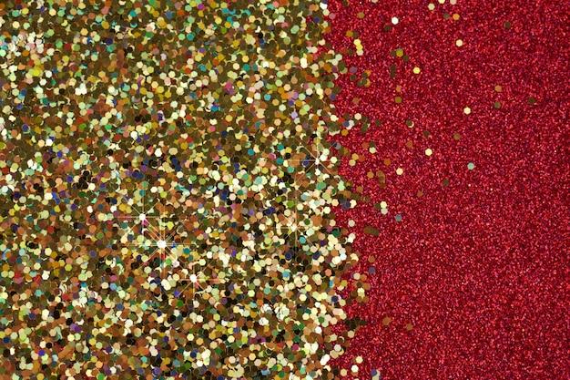 Texture de paillettes, fond rouge et or brillant