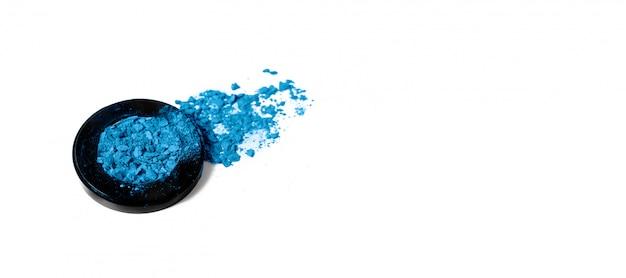 Texture de palette de fard à paupières bleu classique écrasé.