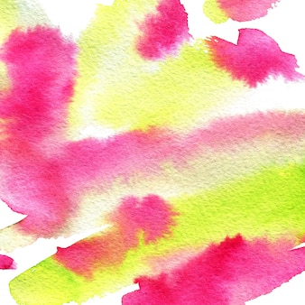 Texture de peinture aquarelle. fond à main levée dans les couleurs rose et vert