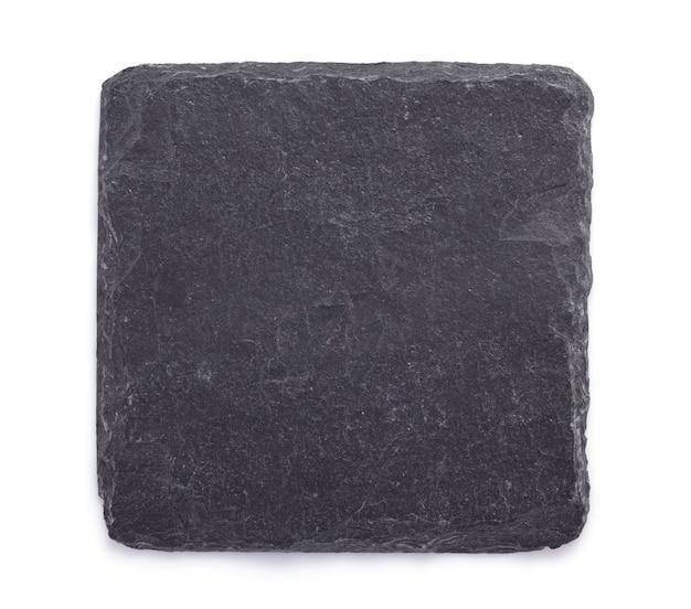 Texture de pierre d'ardoise noire isolée sur fond blanc, vue de dessus