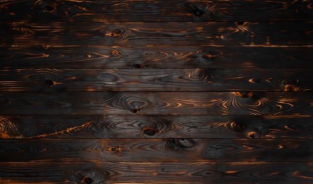 Texture de planche de bois brûlé, brûlé noir