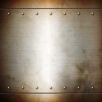 Texture de plaque brossée rivetée en acier rouillé