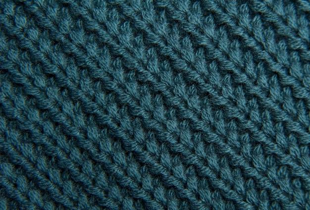 Texture d'un pull en tricot vert-bleu en laine