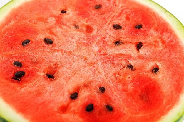 Texture de la pulpe juteuse de melon d'eau rouge
