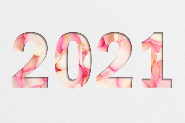 Texture de roses roses avec l'année 2021.