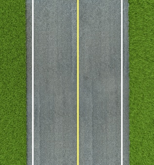 Texture de route asphaltée, ligne jaune et blanche sur route