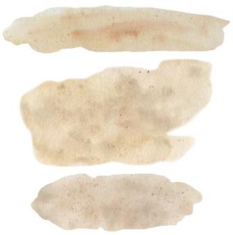 Texture de sable aquarelle abstraite beige dessiné à la main isolé sur fond blanc, toile de fond texturé aquarelle.