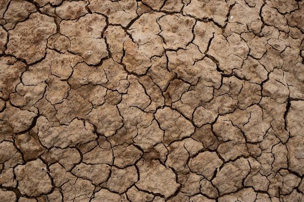 Texture de sol fissuré sec, terre fissurée sèche