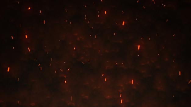 Texture de tempête de feu. lumières de bokeh sur fond noir, coup d'étincelles de feu volant dans l'air